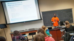 Students in psychology professor Jamila Bookwala 's class, Introduction to Aging Studies, gave presentation on the various aspects of aging on Wed, April 29th. Here Kofi Boateng '16 addresses the class.